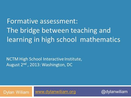 NCTM High School Interactive Institute,