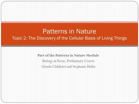 Part of the Patterns in Nature Module