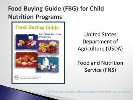 Crediting Smarter Choices: CACFP Creditable Food Guide ...