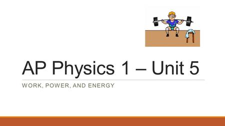 AP Physics 1 – Unit 5 WORK, POWER, AND ENERGY. Learning Objectives: BIG IDEA 3: The interactions of an object with other objects can be described by forces.