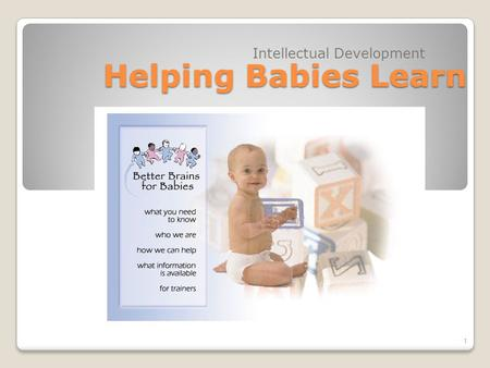 Helping Babies Learn Intellectual Development 1. Objectives: Discuss ways parents and caregivers can help babies intellectual growth Identify toys suitable.