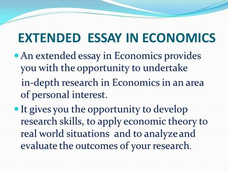 Extended essay in economics