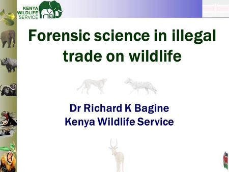 Forensic science in illegal trade on wildlife Dr Richard K Bagine Kenya Wildlife Service.