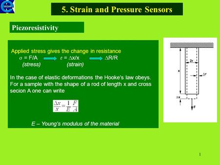 1 5. Strain and Pressure Sensors Piezoresistivity Applied stress gives the change in resistance  = F/A  =  x/x  R/R (stress) (strain) In the case of.