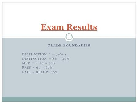 GRADE BOUNDARIES DISTINCTION * = 90% + DISTINCTION = 80 – 89% MERIT = 70 – 79% PASS = 60 – 69% FAIL = BELOW 60% Exam Results.
