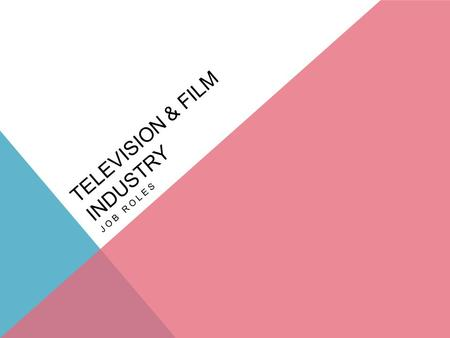 TELEVISION & FILM INDUSTRY JOB ROLES. DIRECTOR Directors have overall responsibility for the way films or television programmes are made. The director.