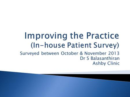 Surveyed between October & November 2013 Dr S Balasanthiran Ashby Clinic.