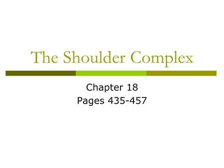 The Shoulder Complex Chapter 18 Pages 435-457. Anatomy  Bony anatomy: clavicle, scapula, and humerus  4 Articulations: Sternoclavicular joint (SC) Acromnioclavicular.