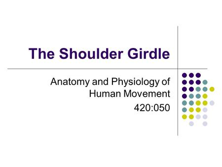 The Shoulder Girdle Anatomy and Physiology of Human Movement 420:050.