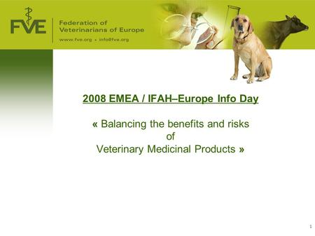 1 2008 EMEA / IFAH–Europe Info Day « Balancing the benefits and risks of Veterinary Medicinal Products »