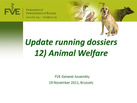Update running dossiers 12) Animal Welfare FVE General Assembly 19 November 2011, Brussels Federation of Veterinarians of Europe