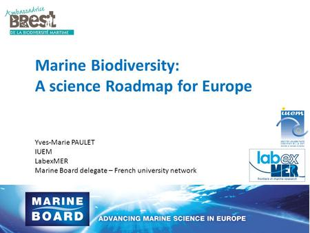Marine Biodiversity: A science Roadmap for Europe Yves-Marie PAULET IUEM LabexMER Marine Board delegate – French university network.