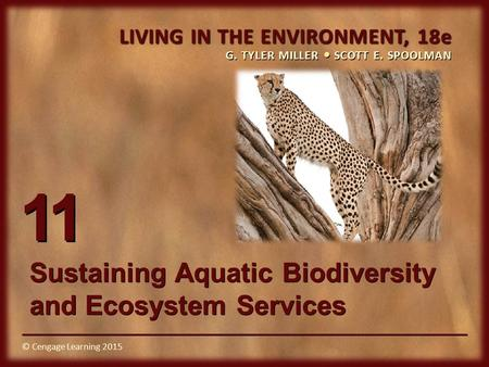 © Cengage Learning 2015 LIVING IN THE ENVIRONMENT, 18e G. TYLER MILLER SCOTT E. SPOOLMAN © Cengage Learning 2015 11 Sustaining Aquatic Biodiversity and.
