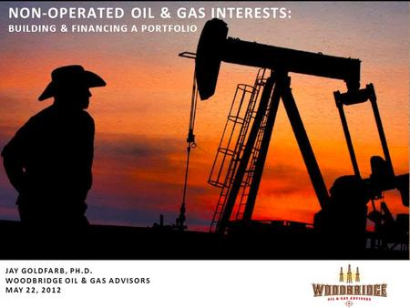 NON-OPERATED OIL & GAS INTERESTS: BUILDING & FINANCING A PORTFOLIO JAY GOLDFARB, PH.D. WOODBRIDGE OIL & GAS ADVISORS MAY 22, 2012.