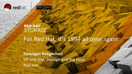 TITLE SLIDE: HEADLINE Presenter name Title, Red Hat Date For Red Hat, it's 1994 all over again Sarangan Rangachari VP and GM, Storage and Big Data Red.