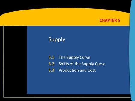 Supply 5.1 5.1The Supply Curve 5.2 5.2Shifts of the Supply Curve 5.3 5.3Production and Cost CHAPTER 5.