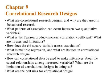Chapter 9 Correlational Research Designs