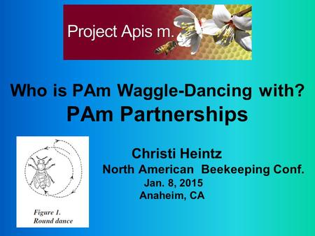 Who is PAm Waggle-Dancing with? PAm Partnerships Christi Heintz North American Beekeeping Conf. Jan. 8, 2015 Anaheim, CA.