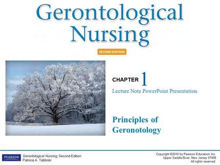 Copyright ©2010 by Pearson Education, Inc. Upper Saddle River, New Jersey 07458 All rights reserved. CHAPTER Gerontological Nursing, Second Edition Patricia.