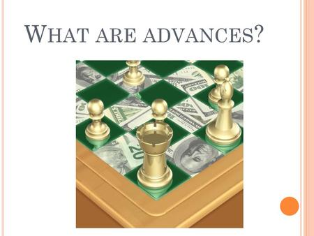 W HAT ARE ADVANCES ?. A DVANCES ARE LOANS AGAINST THE FUTURE RENEWALS ON EACH CASE.