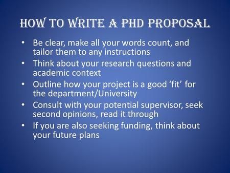 How To Write A Phd