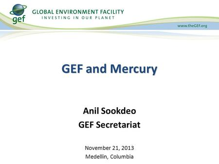 GEF and Mercury Anil Sookdeo GEF Secretariat November 21, 2013 Medellin, Columbia.