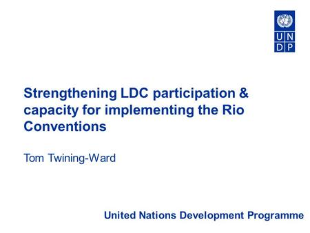 Strengthening LDC participation & capacity for implementing the Rio Conventions Tom Twining-Ward United Nations Development Programme.