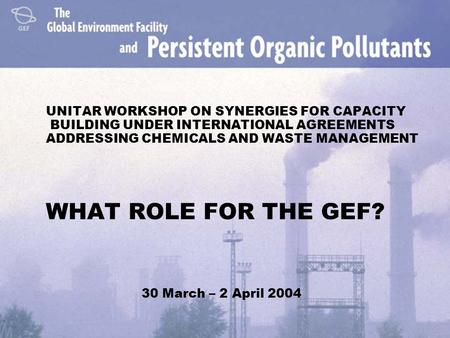 UNITAR WORKSHOP ON SYNERGIES FOR CAPACITY BUILDING UNDER INTERNATIONAL AGREEMENTS ADDRESSING CHEMICALS AND WASTE MANAGEMENT WHAT ROLE FOR THE GEF? 30 March.
