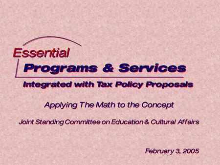 Programs & Services Integrated with Tax Policy Proposals Programs & Services Integrated with Tax Policy Proposals Essential Applying The Math to the Concept.