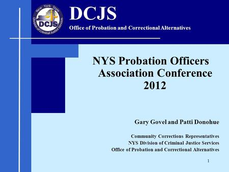 NYS Probation Officers Association Conference 2012 Gary Govel and Patti Donohue Community Corrections Representatives NYS Division of Criminal Justice.