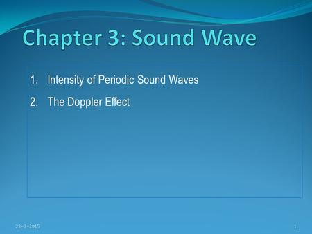 Chapter 3: Sound Wave Intensity of Periodic Sound Waves