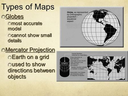 Types of Maps Globes Mercator Projection Earth on a grid