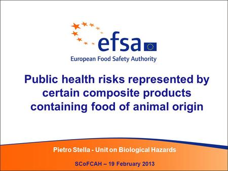 Public health risks represented by certain composite products containing food of animal origin Pietro Stella - Unit on Biological Hazards SCoFCAH – 19.