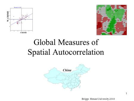 Global Measures of Spatial Autocorrelation Briggs Henan University 2010 1 China.