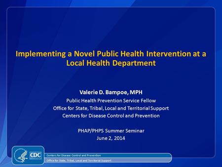 Implementing a Novel Public Health Intervention at a Local Health Department Valerie D. Bampoe, MPH Public Health Prevention Service Fellow Office for.