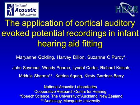 National Acoustic Laboratories Cooperative Research Centre for Hearing *Speech Science, The University of Auckland, New Zealand *Speech Science, The University.
