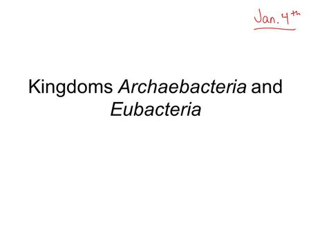 Kingdoms Archaebacteria and Eubacteria. General Prokaryotes are single-celled organisms. They are the smallest, simplest organisms. The group includes: