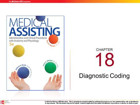 CHAPTER 18 Diagnostic Coding 18-2 Learning Outcomes (cont.) 18.1Recall the six ways that ICD codes are used today. 18.2Describe the conventions used.