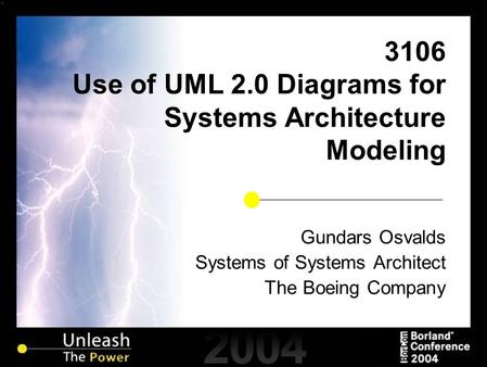 3106 Use of UML 2.0 Diagrams for Systems Architecture Modeling Gundars Osvalds Systems of Systems Architect The Boeing Company.