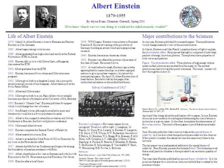 "Albert Einstein 1879-1955 By Alyssa Evans, Chemistry Outreach, Spring 2001 ""If we knew what it was we were doing, it would not be called research, would."
