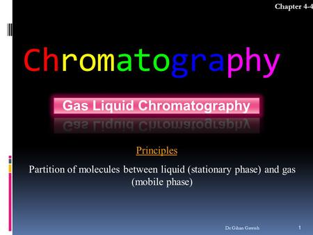 Chromatography Chapter 4-4 1 Dr Gihan Gawish Principles Partition of molecules between liquid (stationary phase) and gas (mobile phase)