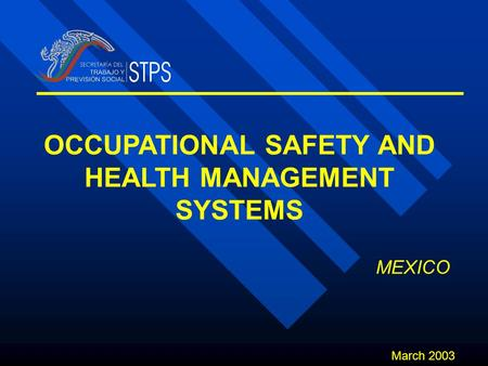 OCCUPATIONAL SAFETY AND HEALTH MANAGEMENT SYSTEMS March 2003 MEXICO.
