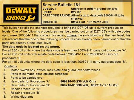 Service Bulletin 161 SUBJECT: Upgrade to current production level UNITS:D27105 DATE CODE RANGE: All units up to date code 200604-11 to be checked ISSUED.