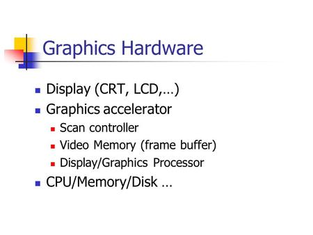 Graphics Hardware <strong>Display</strong> (CRT, LCD,…) Graphics accelerator