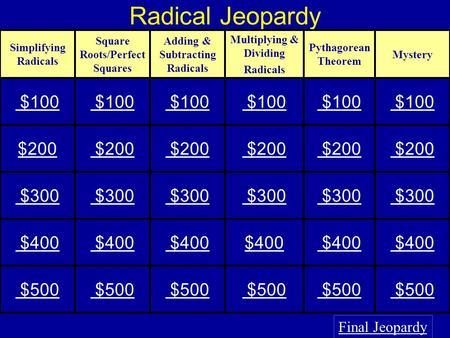 Radical Jeopardy $100 $200 $300 $400 $500 Final Jeopardy
