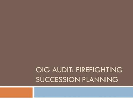 OIG AUDIT: FIREFIGHTING SUCCESSION PLANNING. What is the importance of the document? Four major findings, 20 recommendations: Finding 1: National Workforce.