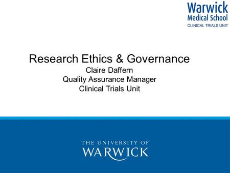 Research Ethics & Governance