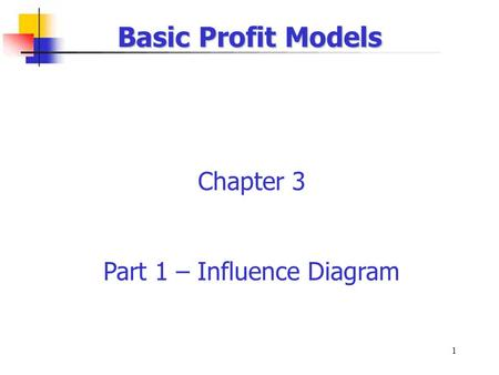 1 Basic Profit Models Chapter 3 Part 1 – Influence Diagram.