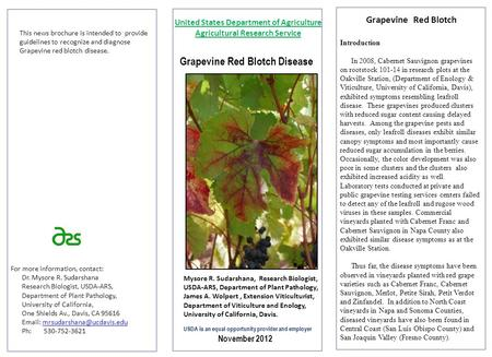 Grapevine Red Blotch Disease This news brochure is intended to provide guidelines to recognize and diagnose Grapevine red blotch disease. For more information,