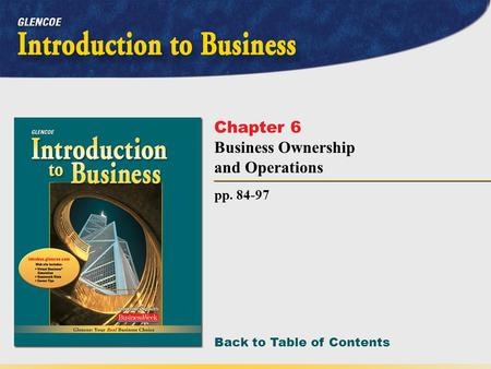 Back to Table of Contents pp. 84-97 Chapter 6 Business Ownership and Operations.